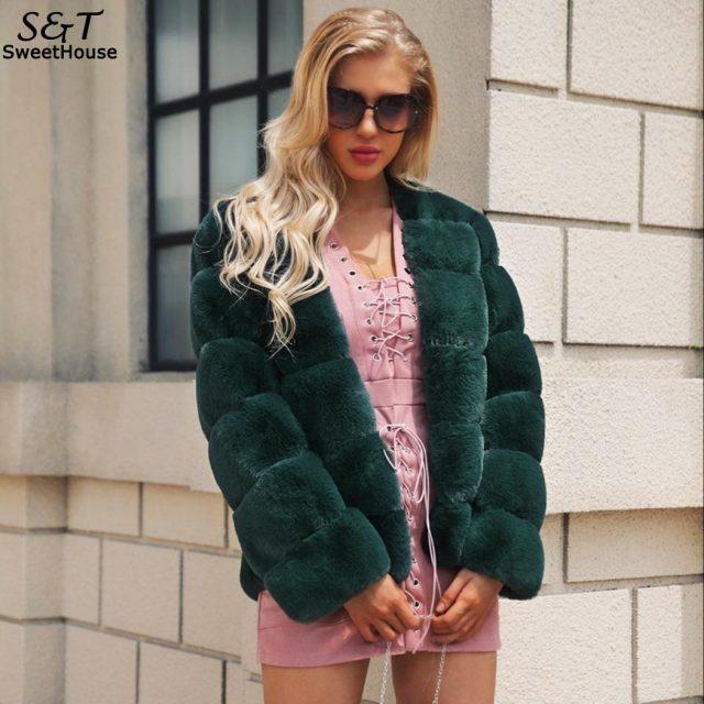 FANALA Fur Coat Long Sleeve Green Cardigan Woman Elegant Winter Thick Warm Outerwear Fake Fur Jacket Pink Coat Party Overcoat
