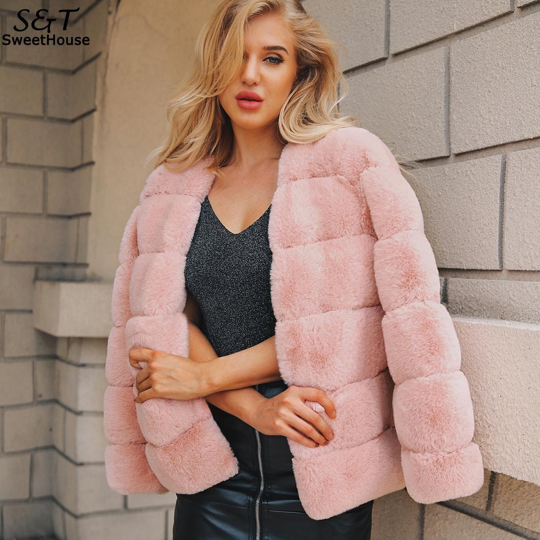 FANALA Fur Coat Long Sleeve Green Cardigan Woman Elegant Winter Thick Warm Outerwear Fake Fur Jacket Pink Coat Party Overcoat