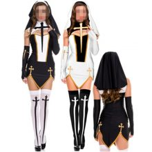 2016 Sexy Nun Costume Adult Women White Cosplay Dress With Black Hood For Halloween Sister Cosplay Party Costume