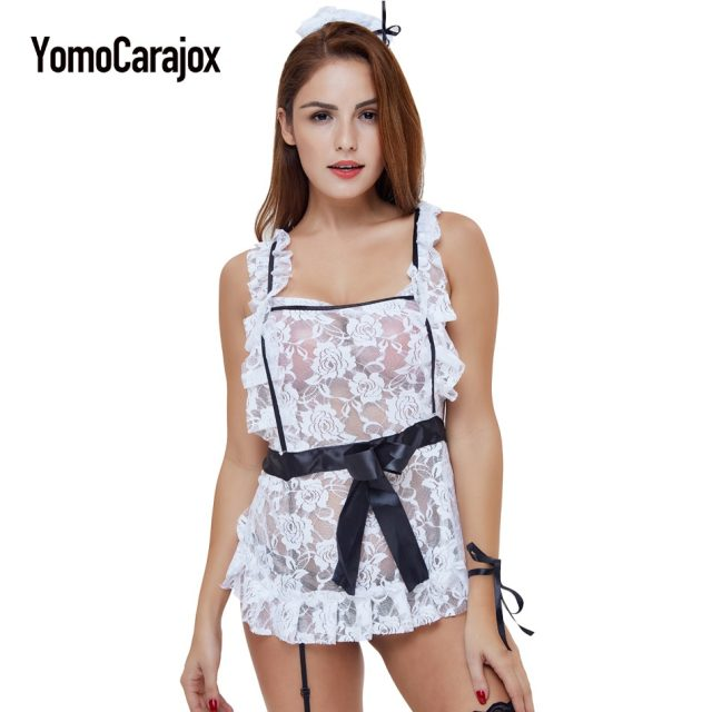 Maid Cosplay Sexy Costumes Lace Strap Black Lingerie Temptation Sexy Cleaning Maid Costumes Fantasy Adult Dress Cosplay