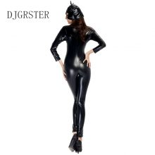 DJGRSTER Women Black PU Patent Leather Catsuit Sexy Catwoman Costume Latex Bodysuit Stretchable With Tail For Halloween
