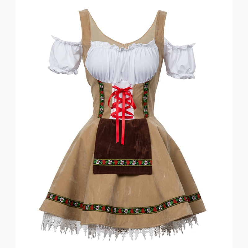 Plus Size 6XL Fashion Oktoberfest Beer Girl Costume Maid Wench Germany Bavarian Short Sleeve Fancy Dress Dirndl For Adult Women