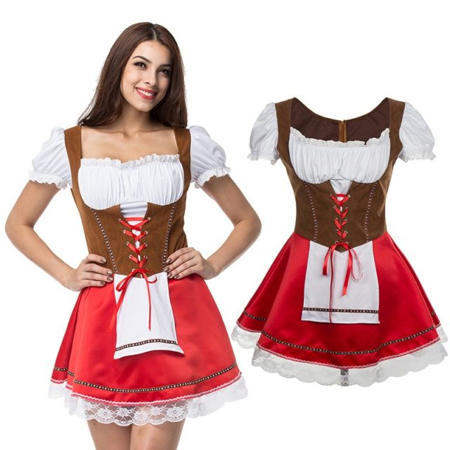 Plus Size 6XL Fashion Oktoberfest Beer Girl Costume Maid Wench Germany Bavarian Short Sleeve Fancy Dress Dirndl For Adult Women