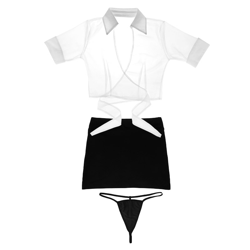 Sexy Lingerie Cosplay Set Secretary Uniform Sexy Costumes Underwear Hot Erotic Body Lady Sexy V-neck Straps Tops+mini skirt