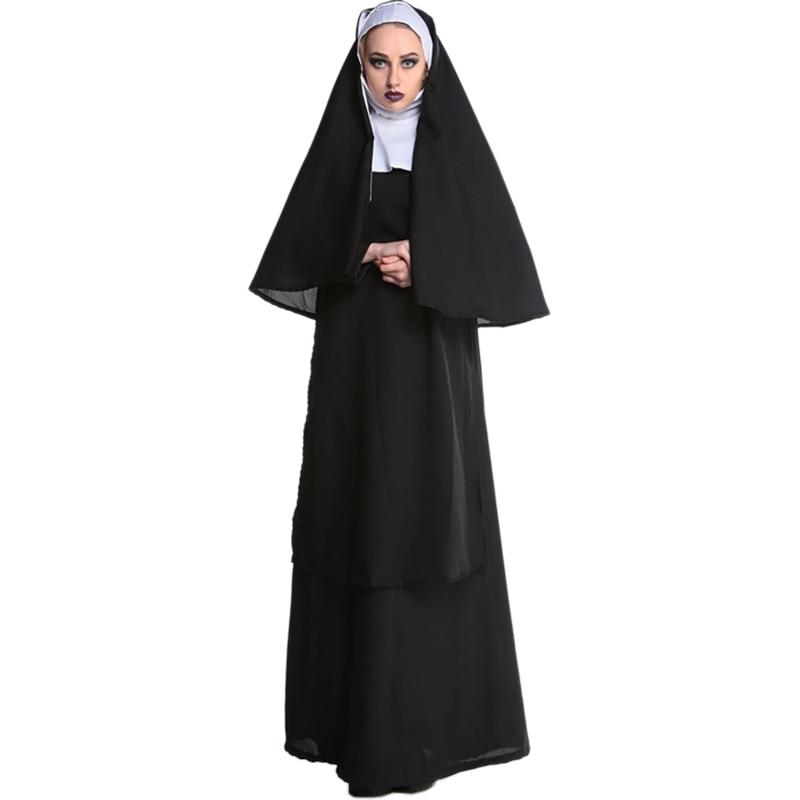 2017 Wholesale Virgin Mary Nuns Costumes for Women Sexy Long Black Nuns Costume Arabic Religion Monk Ghost Uniform Halloween