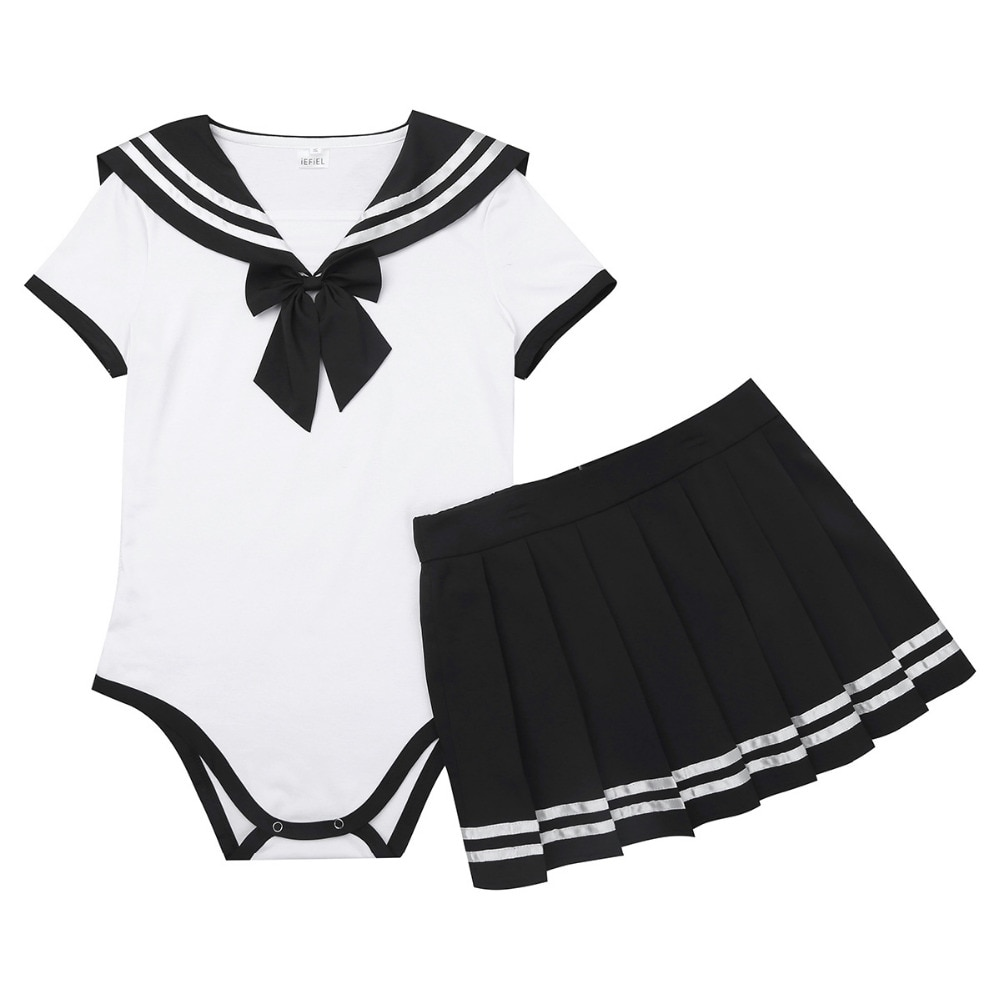 2Pcs Sweet Women Girls Short Sleeve Snap Crotch Romper with Mini Pleated Zipper Closure Skirt Cosplay Sets for Halloween Party