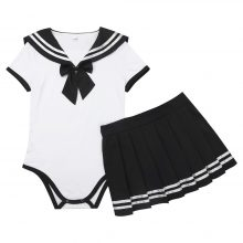Womens Adult Baby Diaper Lover School Girls Snap Crotch Romper with Mini Pleated Skirt Bodycon Clubwear Costume Cosplay Sets