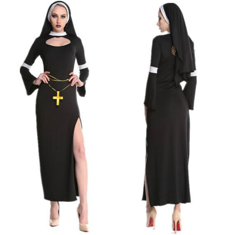 2019 New Hot Arab Clothing Black Sexy Catholic Monk Cosplay Dress Halloween Costumes Nun Costume