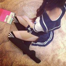 Japanese School Uniform Girl Maid Sailor Navy Crop Top Cosplay Escolar Japones Costume Side Slit Pleated Skirt Fashion Full Set