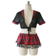 Abbille Plus Size Mini Skirt Women Sexy Lingerie Set Schoolgirl Lace Plaid Student Uniform Role Play Costume Outfit Porn Clothes