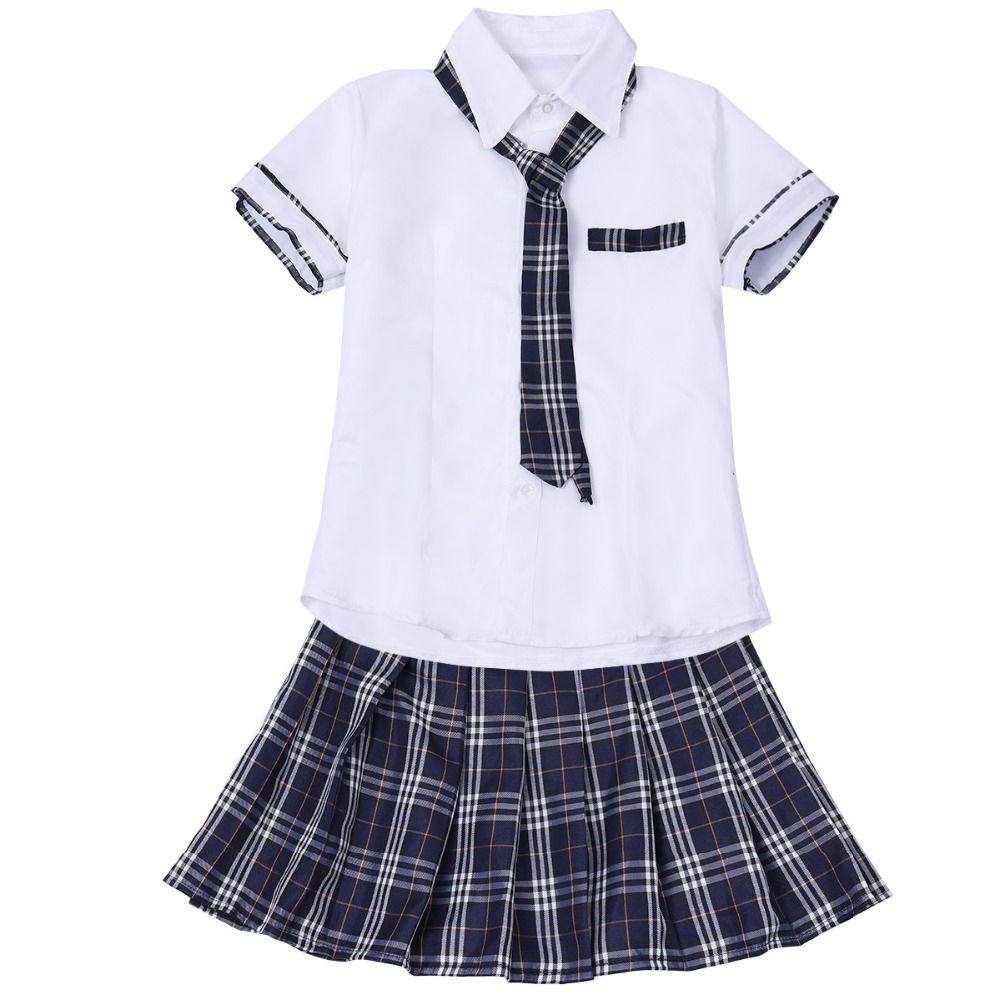 3Pcs Womens Sexy Costumes School Girls Sweet Night Clubwear Cosplay Set Shirt with Plaid Skirt and Tie Clothing for Female