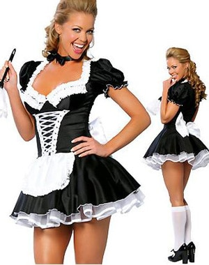 ML5034 Free Shipping High Quality Sexy Adult Woman 2PC Late Night French Maid Servant Costume French Maid Costume