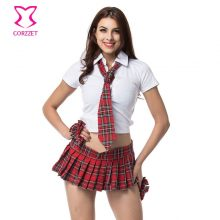 4-piece Set Sexy Backless White Top and Plaid Pleated Skirt School Girl Costume Halloween Costumes For Women Adult Schoolgirl