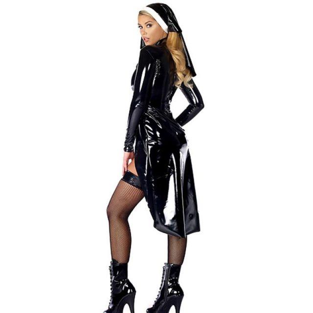 2016 New Style Nun Costume Sexy Women's Saintlike Seductress Halloween Costume With Vinyl Top Panty and Headpiece