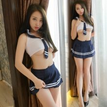 Women Sexy Lingerie Tie Striped+Perspective Vest+Mini Skirt Cosplay Sexy Costumes Babydoll Erotic Lingerie Porn student costume