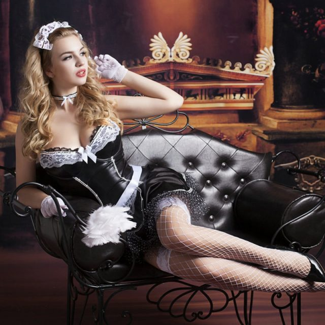 Adult Women French Maid Cosplay Costume Sexy Halloween Outfits New Hot Women Room Service Maid Cosplay Exotic Uniforms 9727