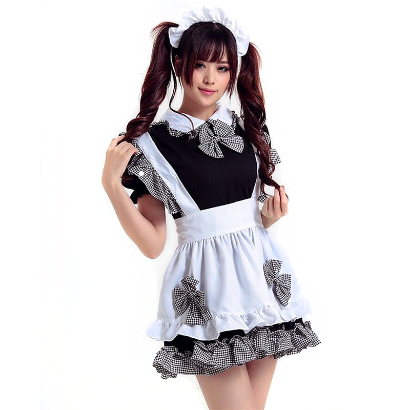 TITIVATE New Novetly Women Costumes Dress Bowknot French Maid Costumes/Princess Women Clothing Cosplay Dress