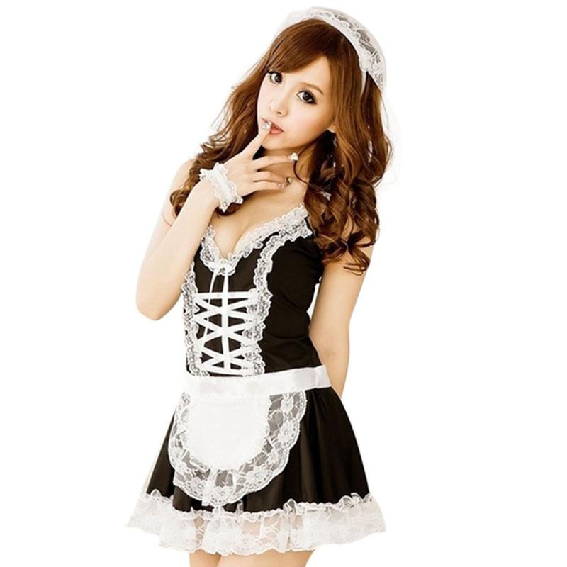 Women's Maid Servant Lace Costume Set French Sexy Babydoll Dress Sexy Lingerie Black White Cosplay Lolita Erotic Uniform Apron