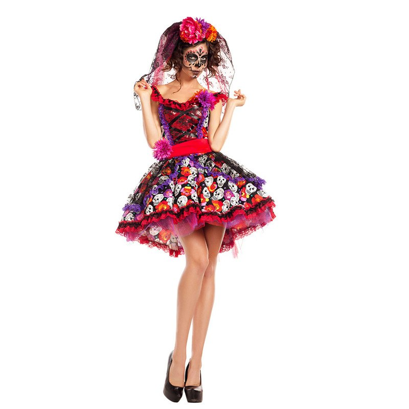 Women Halloween Sexy Creative Skull Ghost Corpse Bride Costume Skeleton Day of The Dead Costume Cosplay Flower Fairy Fancy Dress
