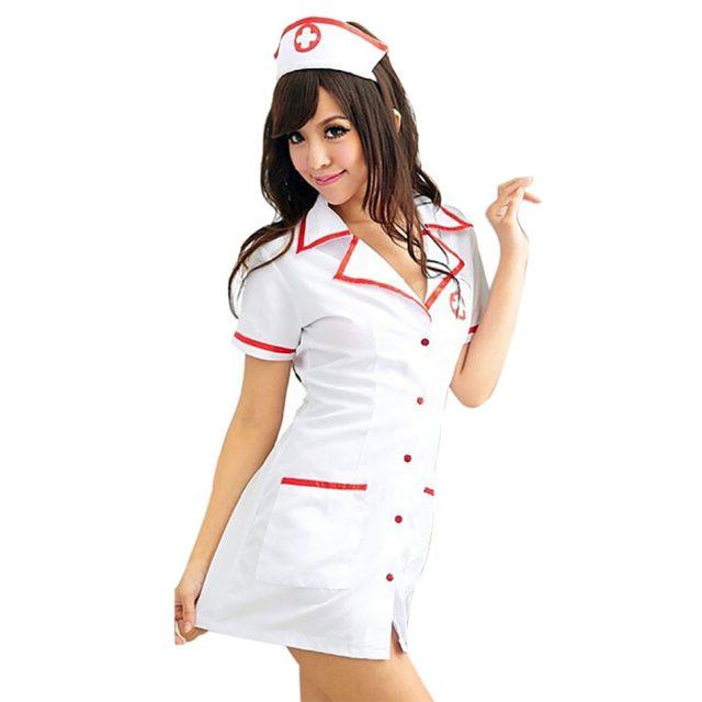 Sexy Nurse Costume Set Fantasias Hot Lingerie 2018  Sexy Erotic Cosplay for Women Costume Nurse Uniform Tempt V-Neck Dress