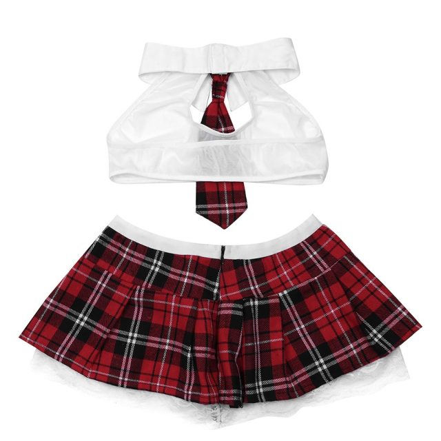 2PCS Women Sexy Lingerie Set School Girls Cosplay Uniform Sheer Crop Top with Mini Skirt Women's Costumes Night Party Clubwear