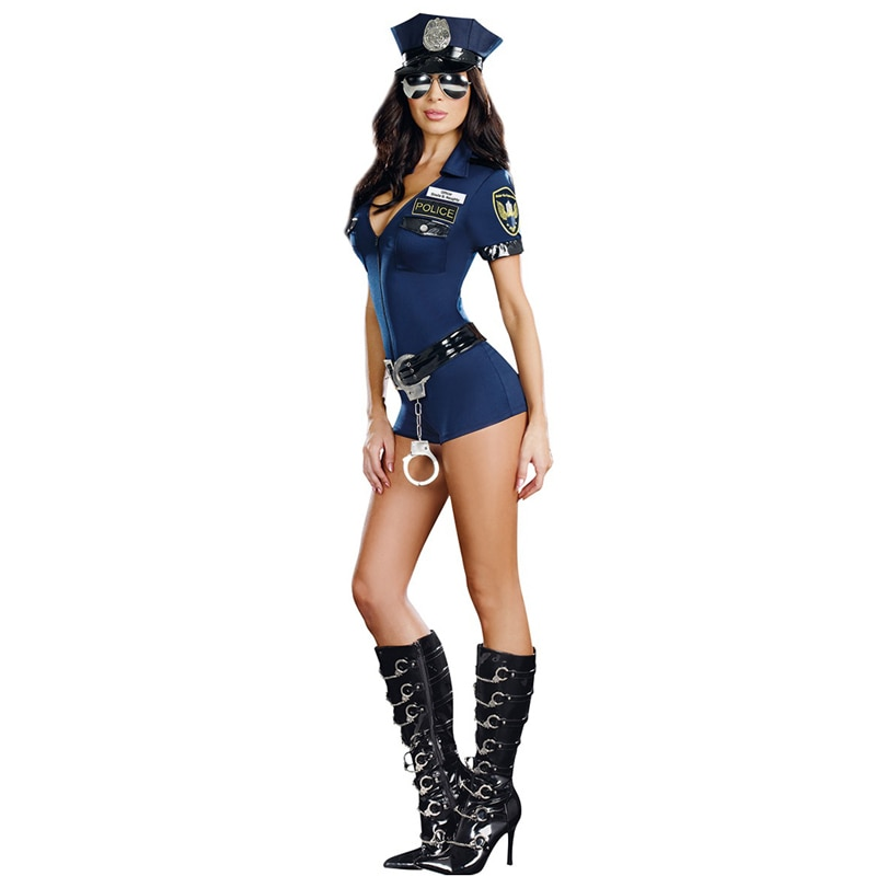MOONIGHT 3 Pcs New Ladies Police Fancy Halloween Costume Sexy Outfit Woman Cosplay Police for Women