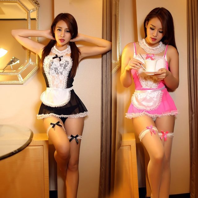Hot lingerie exotic apparel sexy french pink maid costume  lace costume sets
