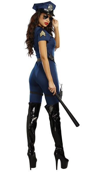 2018 New Stylish Female Police Costume Adult Halloween Cosplay Police Officer Uniform Sexy Deep V Neck Blue Jumpsuit Costume