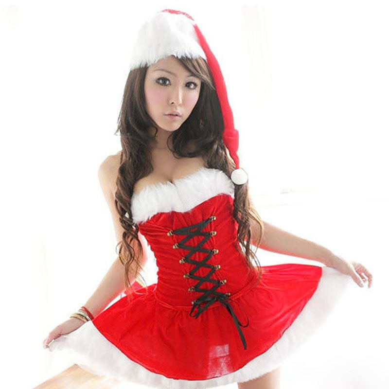 Sexy Christmas Costume For Women Thick Velvet  Santa Cosplay Suit  Erotic Baby doll Uniform that Christmas Party Dress Outfit