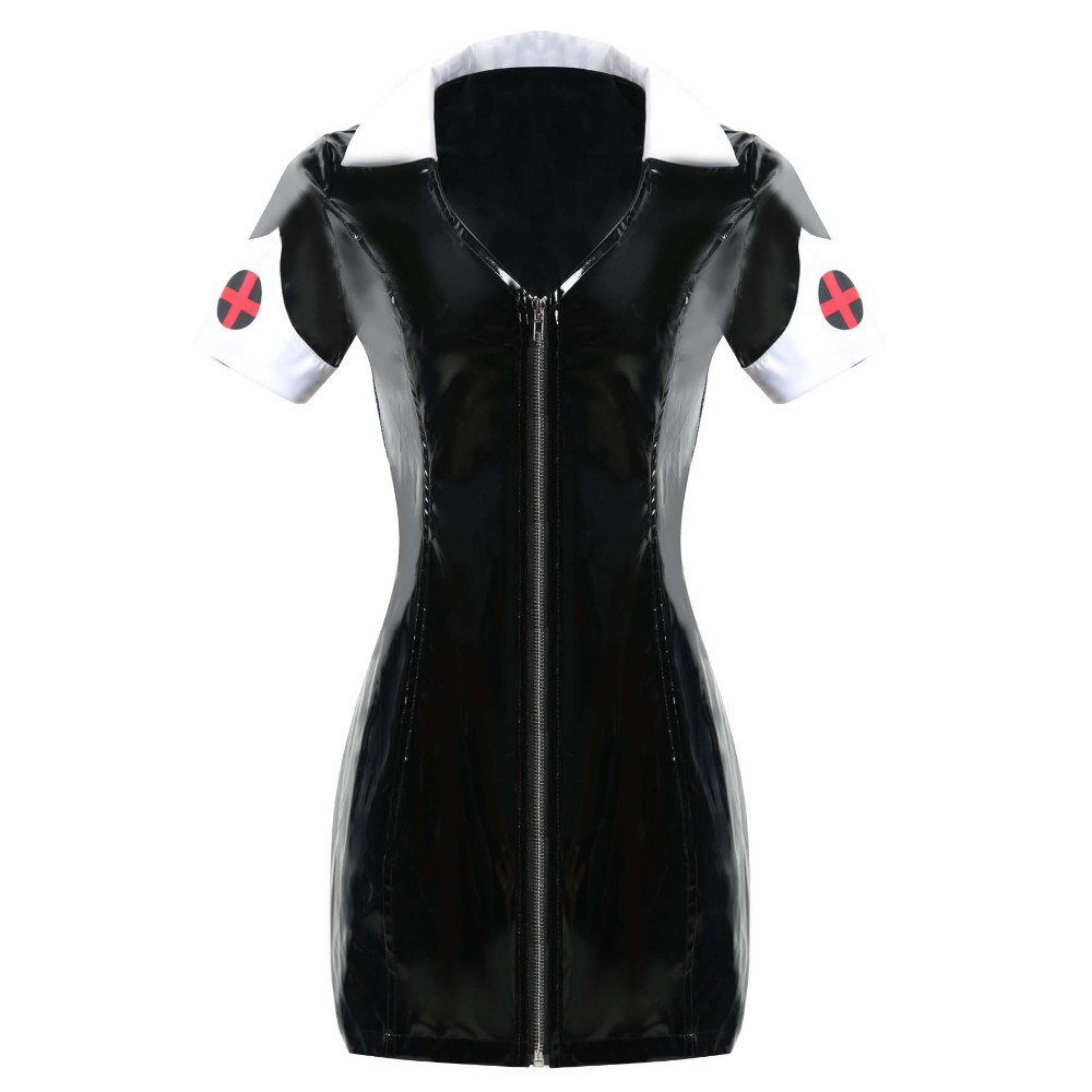 S-XXL Sexy Leather Black PVC Dress With Zipper Bodycon Catsuit Bondage Clubwear Pole Dance Costume Sexy Nurse Erotic Costumes