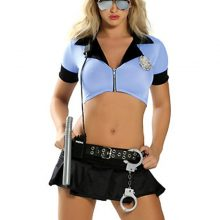 MOONIGHT Womens Sexy Blue Halloween Party Police Uniform Costumes Outfit Fancy Cosplay Top+Skirt With Hat Halloween Costume
