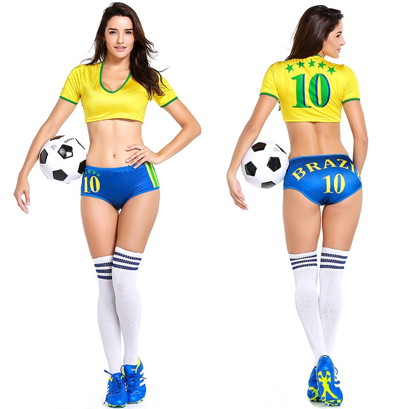 Sexy Japan Brazil Russia Portugal Spain Football Game Cheerleader Costume 2018 Football Game Cheer Outfit Uniform