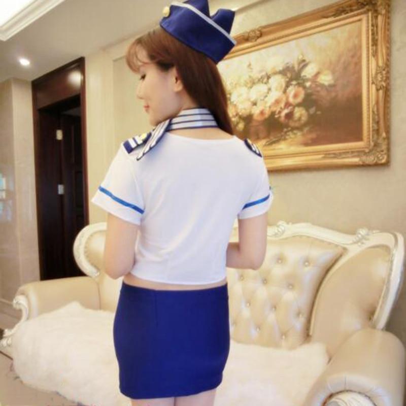 Fashion Temptation Sexy Sailor Uniforms  Cosplay Costume Summer Flight Attendant Uniforms Role Play Sexy Costume