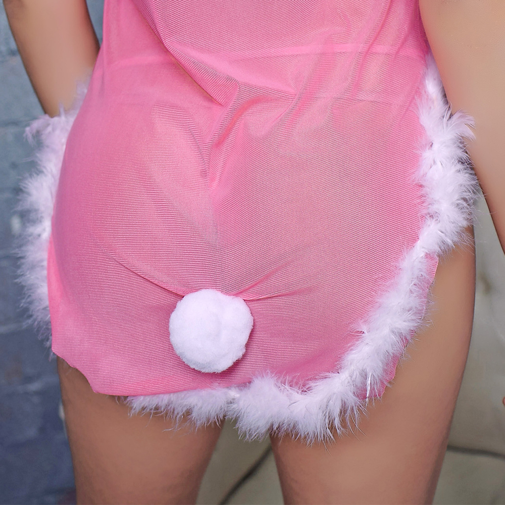 Sexy Sheer Nightdress Bunny Girl Sex Costume Sexy Ladies Babydoll Sexy and Naughty Nighties for Women Pink Erotic Lingerie Set