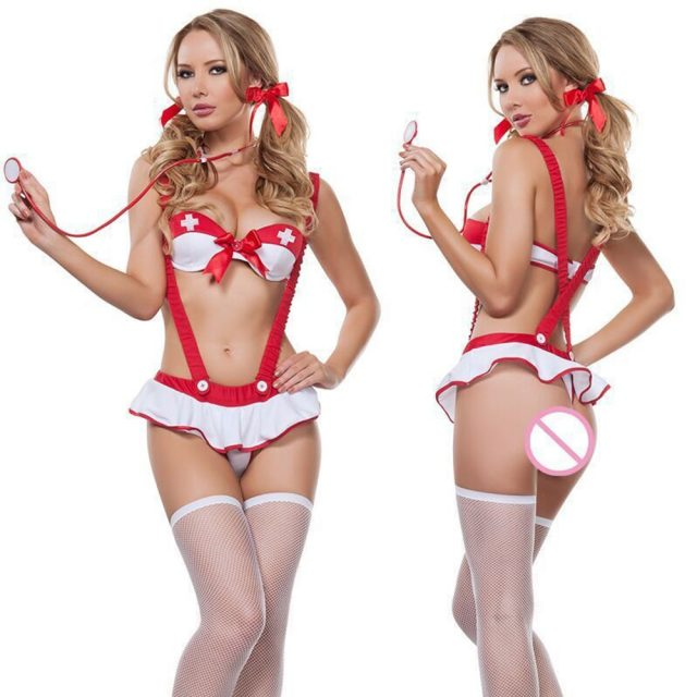 MUSHIERYA Women Sexy Lingerie Hot Naughty Nurse Costume Uniform Sexy Underwear Tops + Skirt Sexy Cosplay Lingerie Set Plus Size