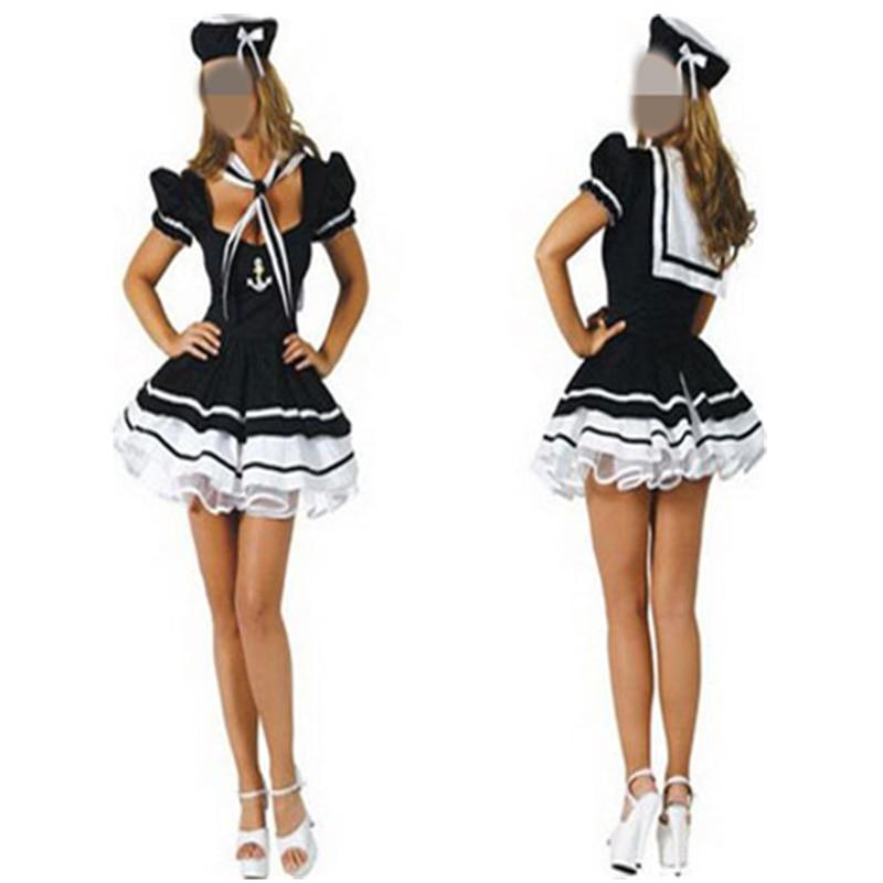 Women Adult Girls Sexy Profession Sailor Costumes marine Blue Girl Costumes Dress Set Halloween Costumes Dress