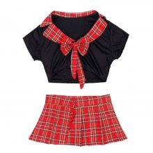 iiniim Brand Women School Girl Role Play Costumes Set See-through Transparent Crop Top with Plaid Skirt Sexy Cosplay for Adult