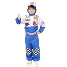 Race Car Uniform Halloween Cosplay Children Costumes Blue Racing Driver Clothes Polyester Material With Hat and Sliver Belt