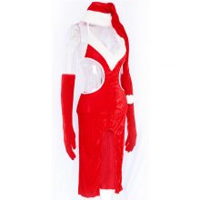 Stylish Women Red Fancy Long Dress Sexy Charming Christmas Gown Sweetheart Miss Santa with Hat W204027