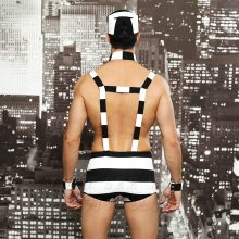 6615 Sexy New Arrival Convict Criminal Zombie Black White Stripe Prisoner Costume Halloween Costume For Men Party Cosplay