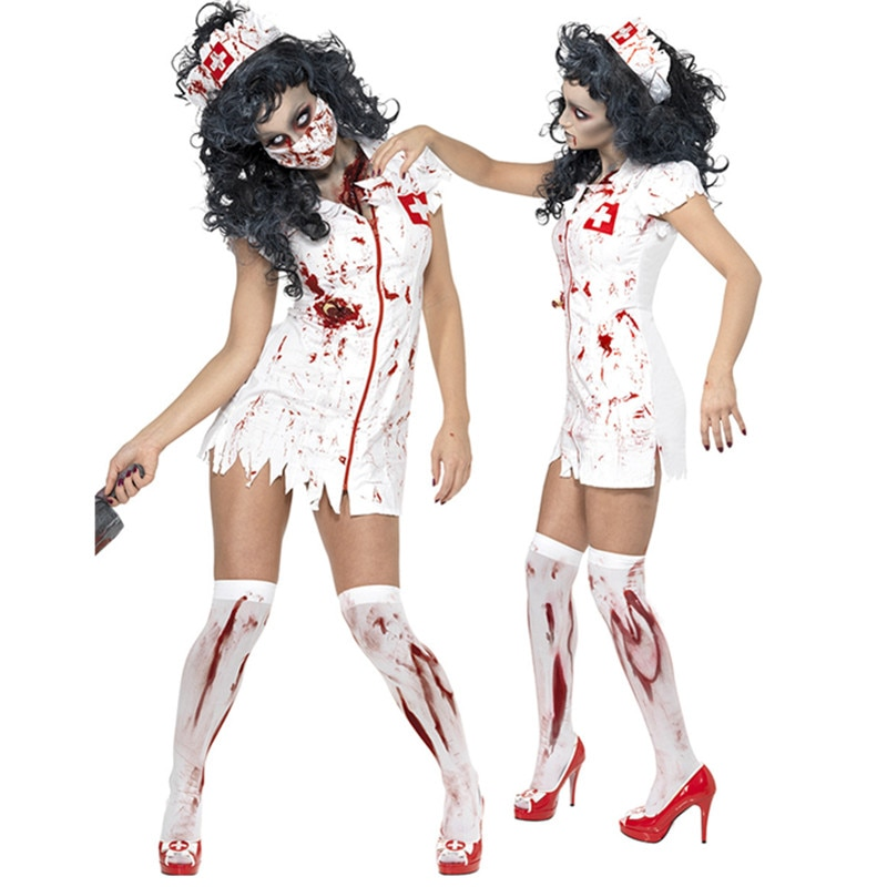 Halloween Costumes White Nurse Dress Zombie Cosplay Fancy Female Nurses Costumes Spooky Blood Splatter Costume