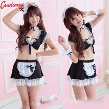 fancy Classified Wet Look French Maid Outfit Black Lace Sexy Lady Uniform temptation sexy costumes porn Adult Sex Games erotic