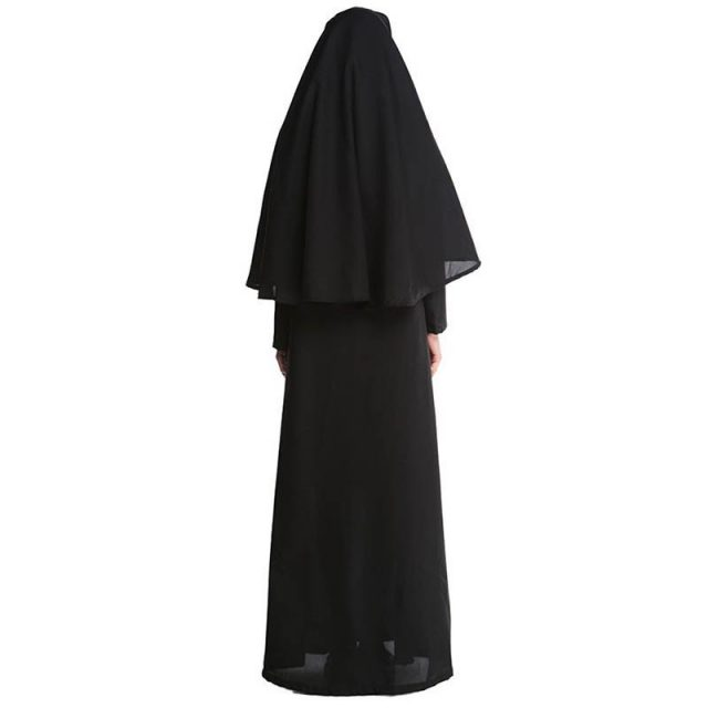 M-XL New Virgin Mary Nuns Costumes for Women Sexy Long Black Nuns Costume Arabic Religion Monk Ghost Uniform Halloween Clothing