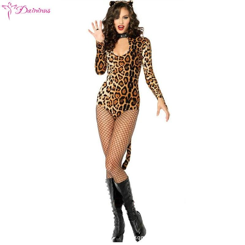 Sexy Lingerie Women Black Catsuit Fantasia Sexy Leopard Catwoman Role Play Costume Cat Cosplay Bodysuit Disfraz Gatubela