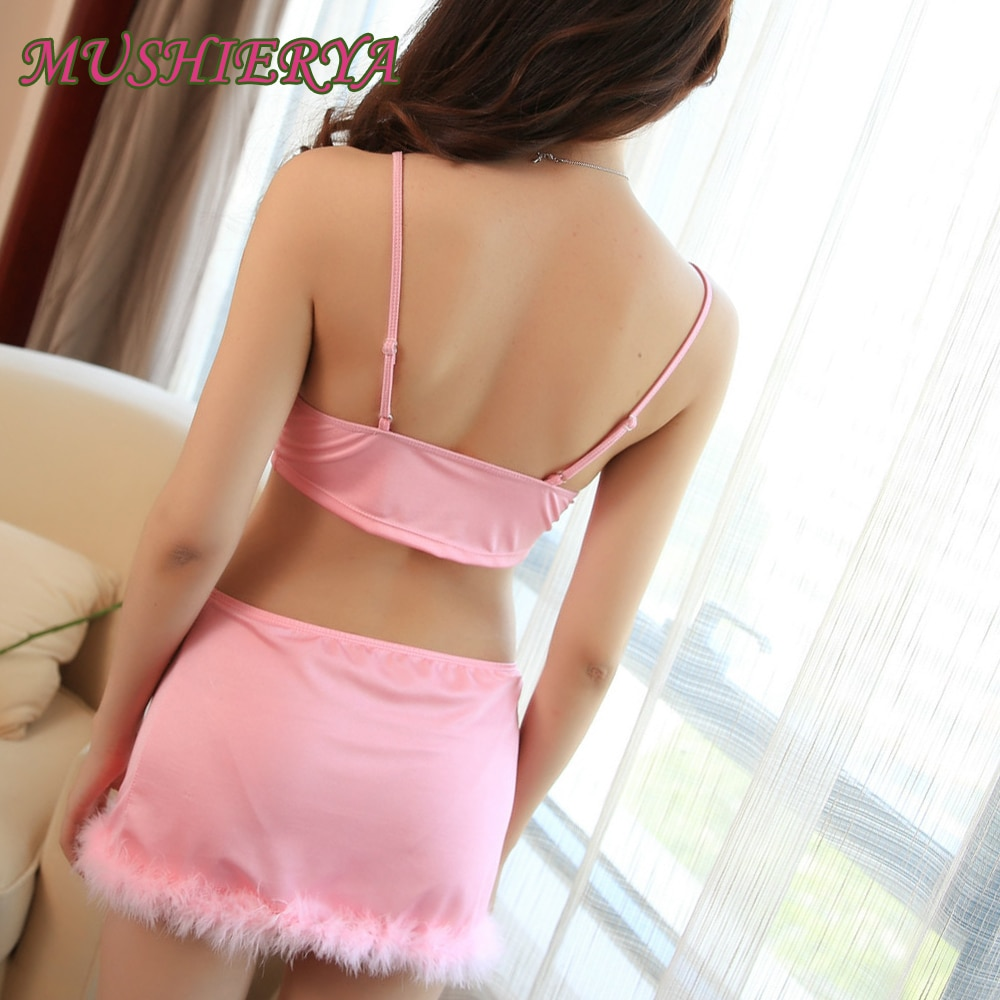Sexy Adult Women Erotic Bunny Lingerie Cosplay Porn Uniform Feathers Babydoll Nightie Nifty Pink Temptation Sexy Erotic Cosplay