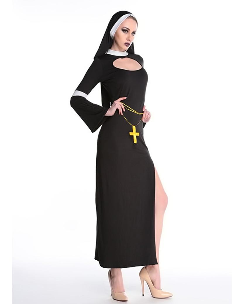MOONIGHT Sexy Nun Costume Adult Women Cosplay Dress With Black Hood Halloween Costume Cosplay Party Costume