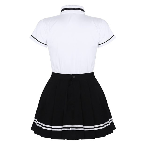 Korean Schoolgirl uniform White Top Black Skirt with Badge and Tie for Japanese Sailor Uniforms Student Cosplay Costume Suit