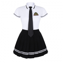 Korean Schoolgirl Uniform White Top Black Skirt Badge Tie Japanese Sailor Uniforms Student Cosplay Costume Suit