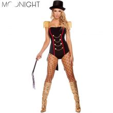 MOONIGHT 3 Pcs Adult Outfit Circus Costume Halloween Masquerade Sexy Clown Uniforms Role Play Clothes