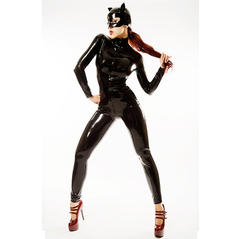2018 New Sexy Catwoman Cosplay For Women With Hat Zipper To Crotch Erotic Jumpsuit Vinyl PVC role-playing games Sexy Costumes